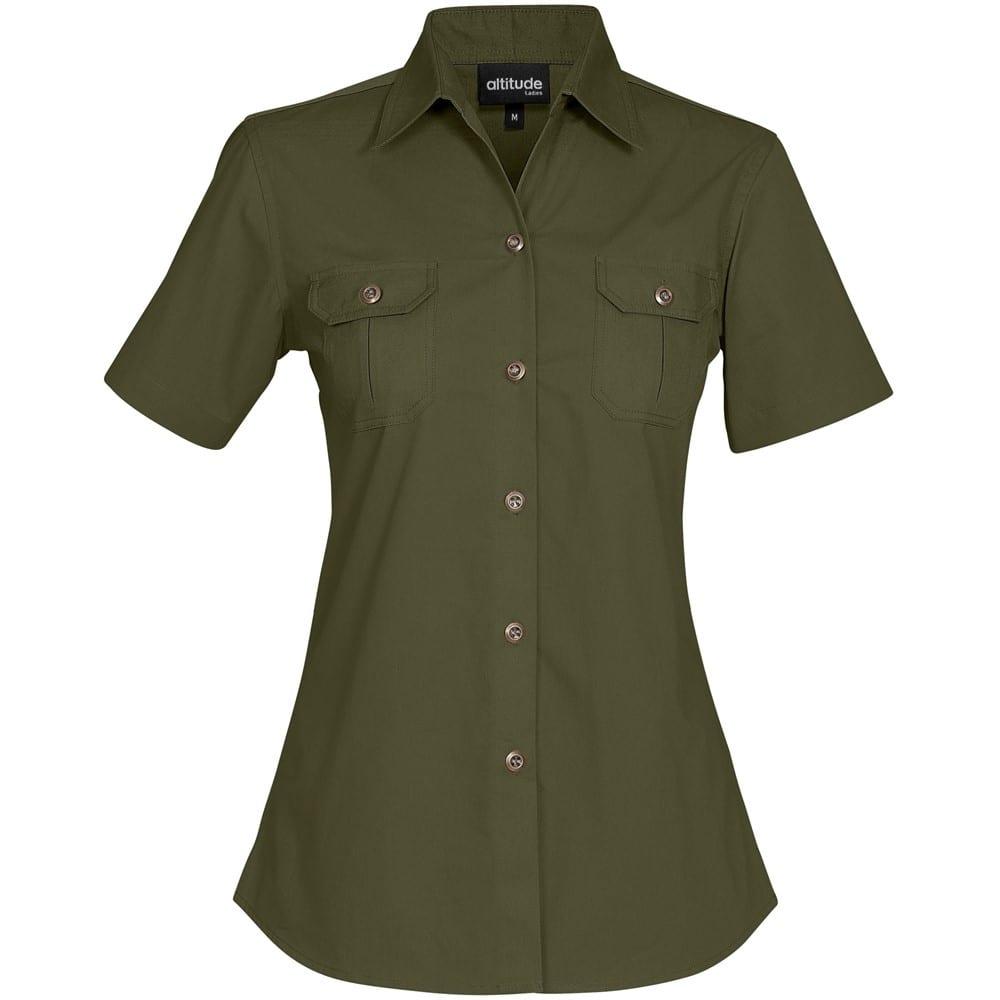 Ladies Short Sleeve Oryx Bush Shirt - S, Military Green